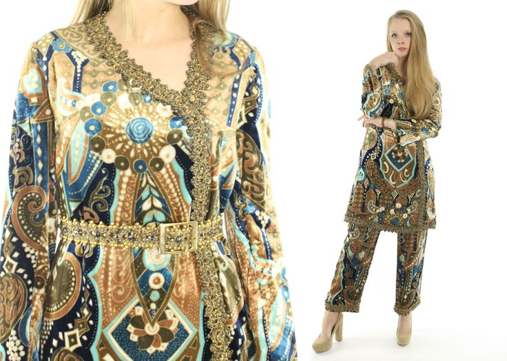 $795, Vintage 70s BILL BLASS Hostess Outfit Velvet Pants Suit Long Sleeve Dress Hippie Boho Designer Dress 1970s Medium M High Waisted Pants by ScarletFury on Etsy