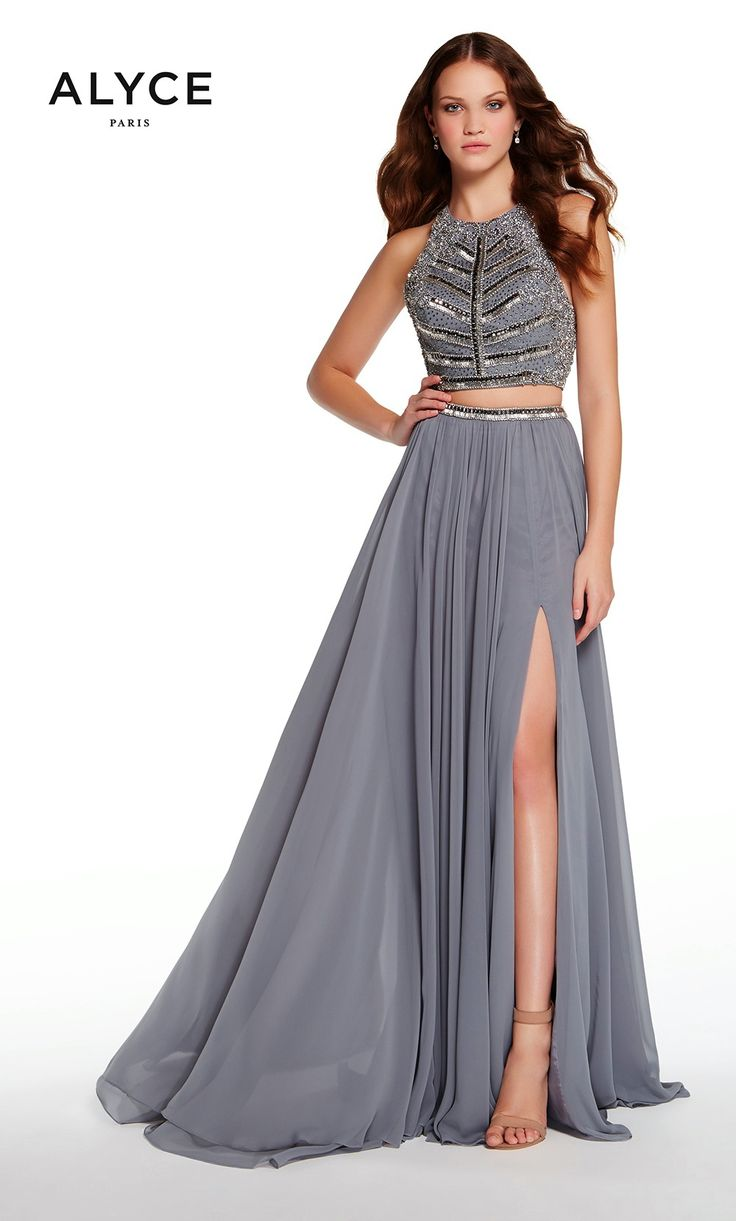 Prom Dreses Evening Dresses by ALYCE PARIS<BR>aay60197<BR>Two piece chiffon dress with flowy front slit skirt,  embellished halter crop top ans strappy open back.