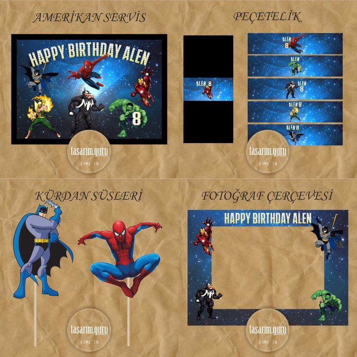 Superhero temalı doğum günü için süslemeler