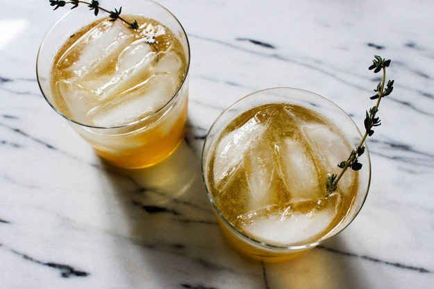 Whiskey-Peach Cocktail- To get your daily fruit serving (not really).  All you need: whiskey, peach jam, club soda, and thyme (to garnish).