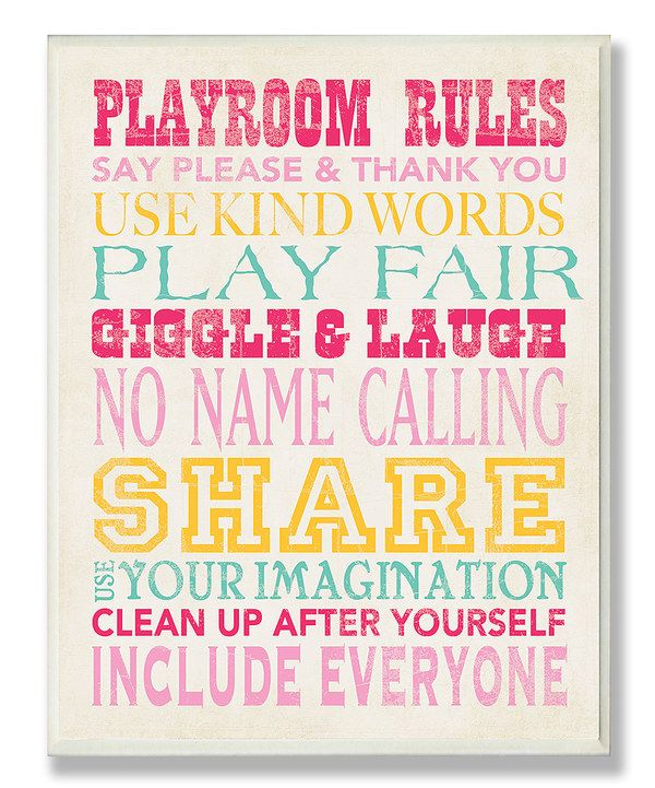Look at this Pink & Yellow 'Playroom Rules' Wall Art on #zulily today!