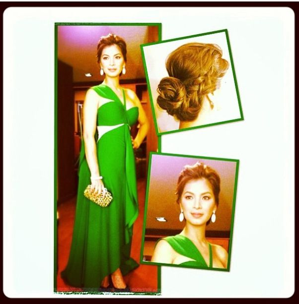 Angel Locsin in a green cut out dress by Rajo Laurel