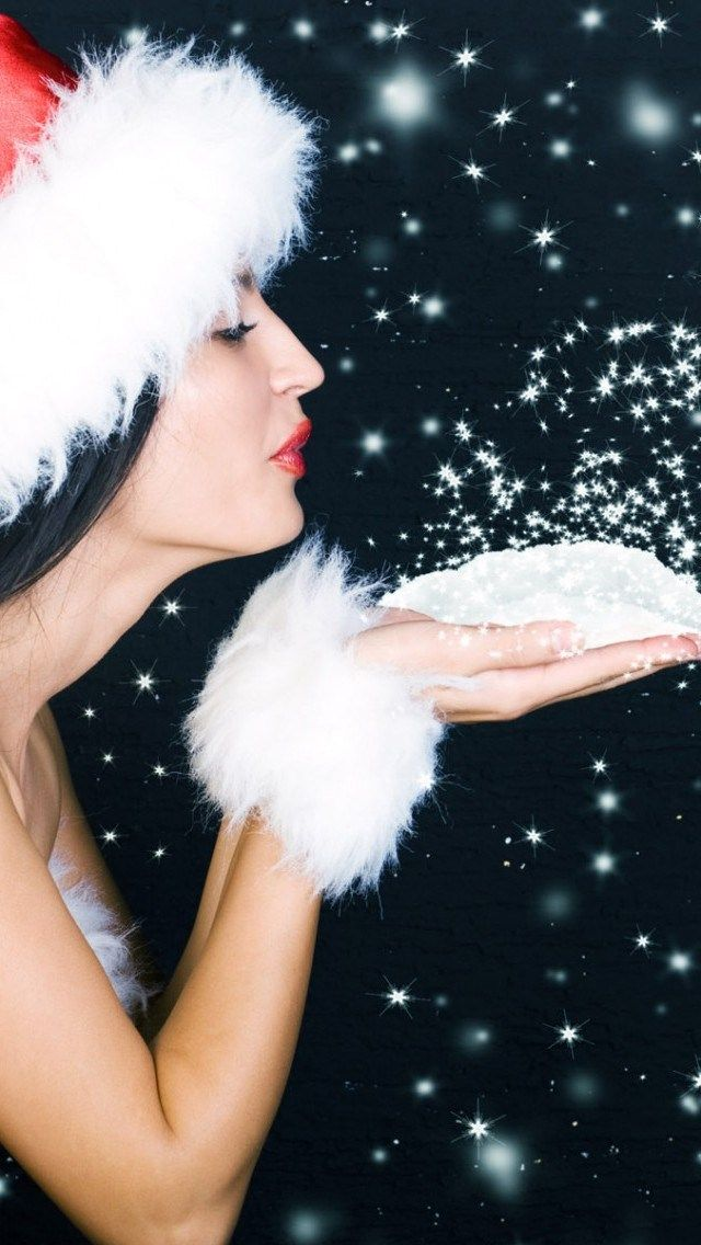 Great HD iPhone background of Lady in a Santa hat blowing Snow HD iPhone 5 Wallpaper, Check out more of our Best iPhone wallpapers..... #Christmas #iPhone #iPad #iPod #iWatch #BestiPhonewallpapers #BestiPhonebackgrounds #Xmas #Santa #Sexysanta #ChristmasHolidays
