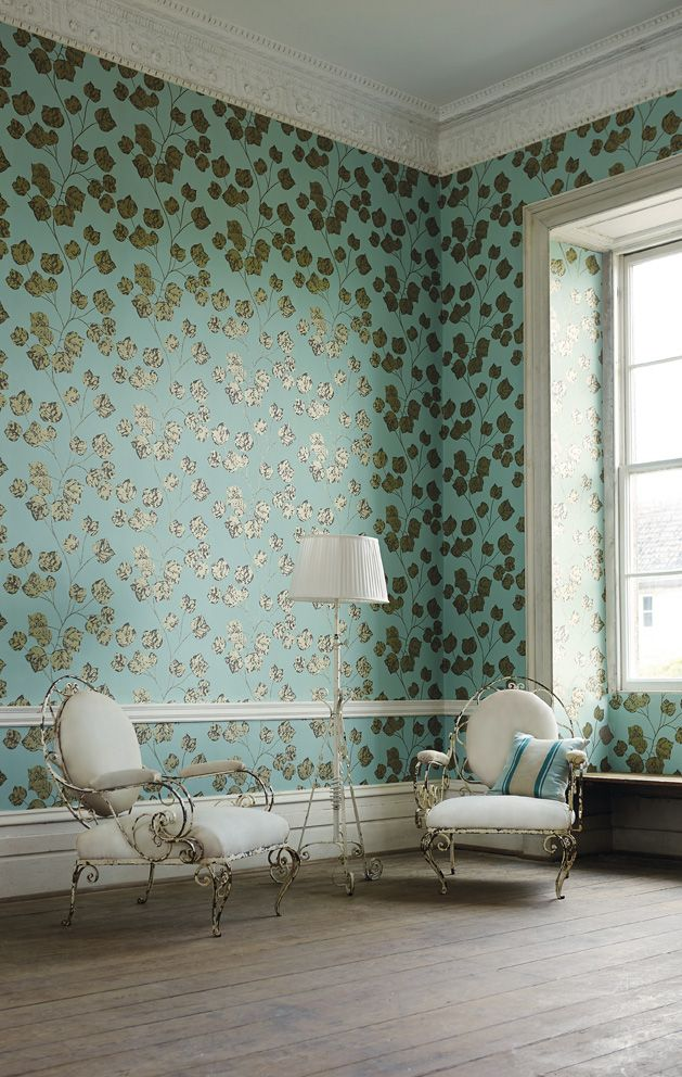 Bonica, a trailing vine leaf enhanced with hints of metallic from Harlequin's Poetica collection