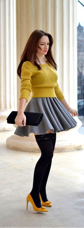 Yellow Sweater with Grey Pleated Skirt and Nude Pumps - My Silk Fairytale
