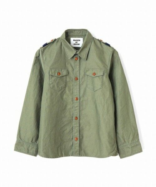 MAISON DE REEFUR KIDS(メゾンドリファー キッズ)のキッズミリタリーシャツ(シャツ/ブラウス)|カーキ
