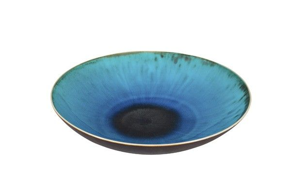 Holzer-Kjellberg, Friedl (1905-1993) A Copper-glazed Porcelain Bowl, sign. -F.H.Kj- Arabia, diameter 27 cm