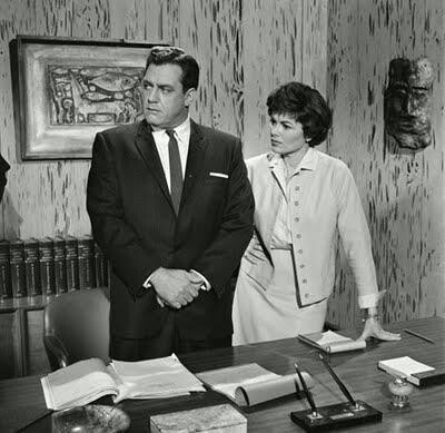 Raymond Burr & Barbara Hale as Perry Mason and Della Street in the legal…