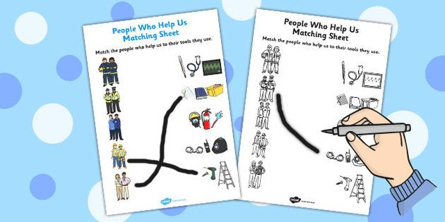 People Who Help Us and their Tools Matching Activity Sheet