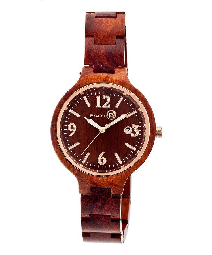 Red Nodal Wood Bracelet Watch by EARTH wood watches #zulily #zulilyfinds