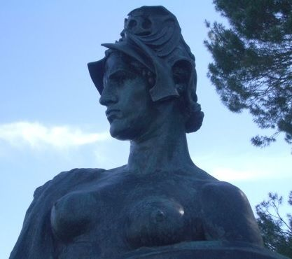 """BELLONA - GODDESS OF WAR (Canberra's First Statue) http://www.canberrahistoryweb.com/bellona.htm """"Thy breath stirreth faction and party. Men rise, and no voice can avail To stay them—rose-tinted Astarte Herself at thy presence turns pale. For deeper and richer the crimson That gathers behind thee throws forth A halo thy raiment and limbs on, And leaves a red track in the path That flows thy wine-press of wrath."""" (Adam Lindsay Gordon)"""