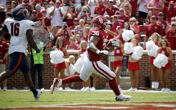 Oklahoma's Dimitri Flowers (36) scores a touchdown during a college football game between the Oklahoma Sooners (OU) and the University of Texas at El Paso Miners (UTEP) at Gaylord Family-Oklahoma Memorial Stadium in Norman, Okla., Saturday, Sept. 2, 2017. Oklahoma won 56-7. Photo by Bryan Terry, The Oklahoman