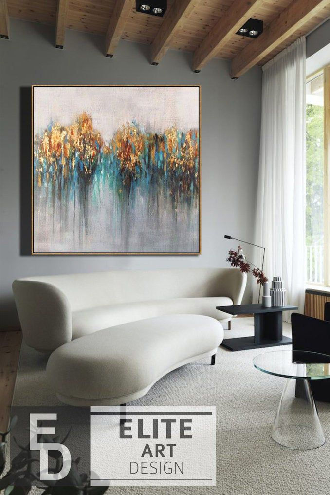 Extra Large Wall Art Gold Leaf Abstract Canvas Art Oversize