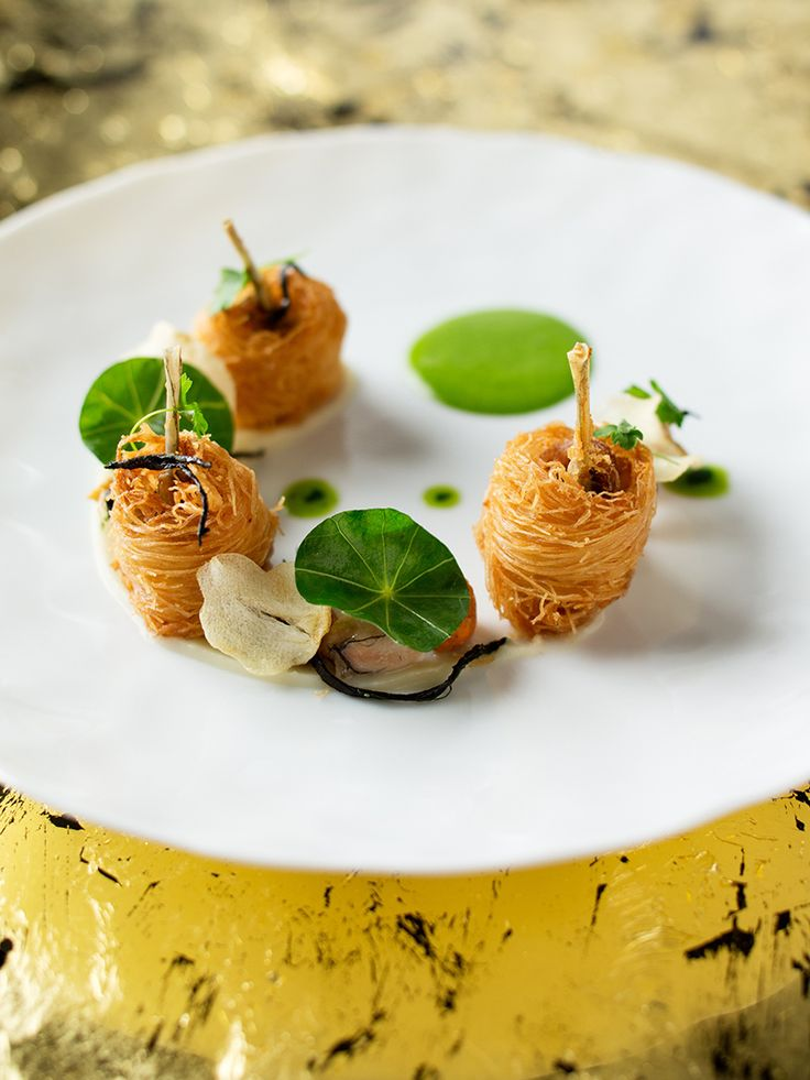 #plating #presentation Dombes frog legs in crispy kataifi, sprinkled with quatre épices, purée and chips of garlic, and Italian parsley sabayon by chef Richard Ekkebus. © The Landmark Mandarin Oriental, Hong Kong