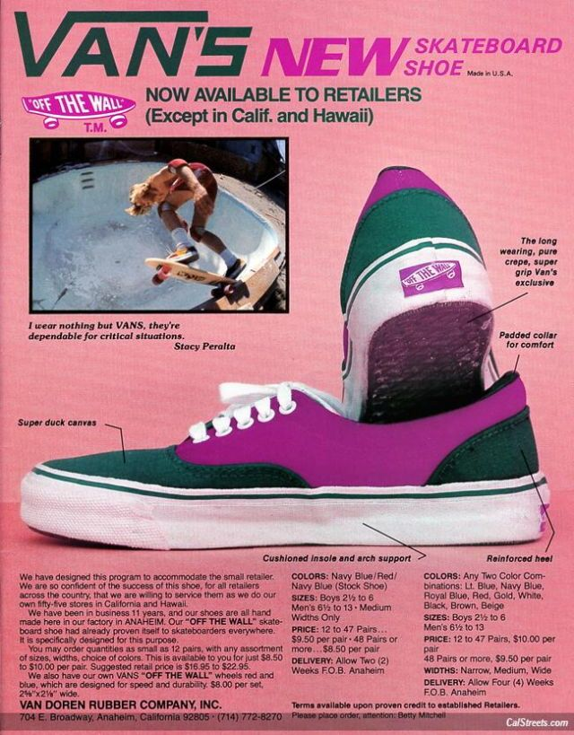 Vintage Van's ad (two flavors) from the mid '70s, featuring Stacy Peralta