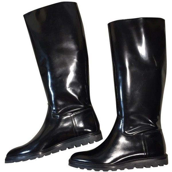 Patent leather boots BALLY ($170) ❤ liked on Polyvore featuring shoes, boots, black patent boots, patent shoes, black patent leather shoes, patent leather boots and black patent shoes