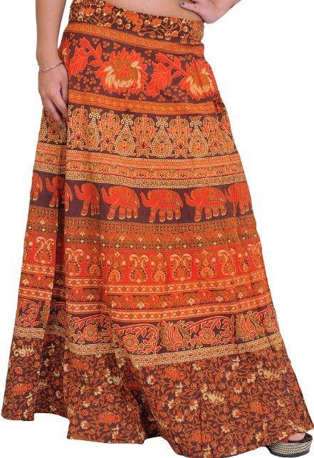 Indická zavinovací sukně (107 cm) - ČERVENO-HNĚDÁ
