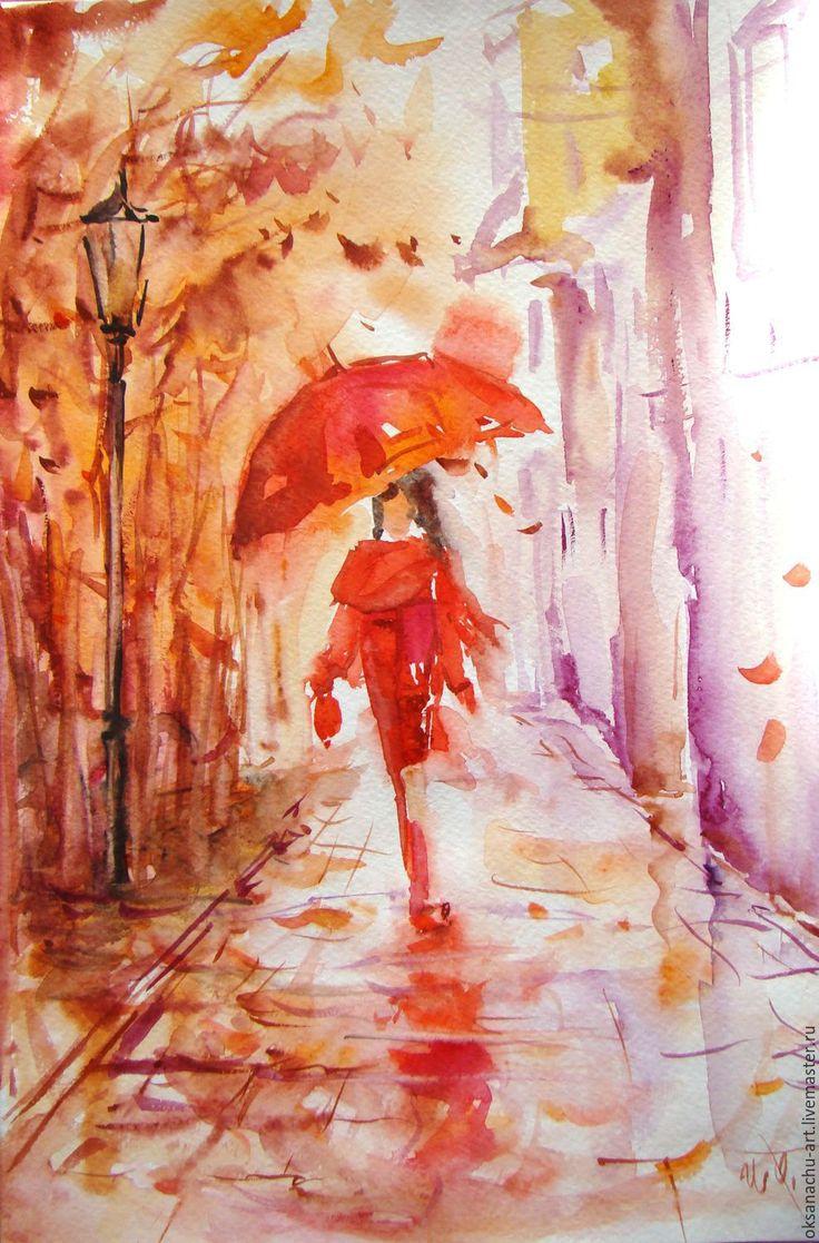 Картинки рисованные осень дождь