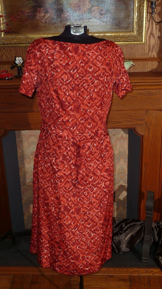 1960 Pomegranate and burnt orange dress by DnJVintage on Etsy, $34.00