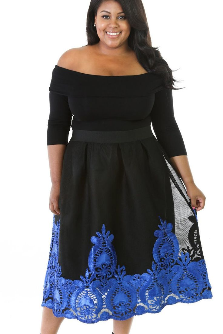 Robes Patineuse Grandes Tailles Curvy Bleu Broderie Dentelle Tulle Jupe Pas Cher www.modebuy.com @Modebuy #Modebuy #Noir #Bleu #femmes #Grande