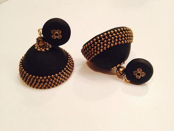 polymer clay jhumka jhumki earrings black and brass