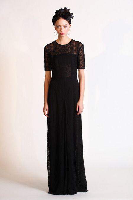 Charlotte Ronson Fall 2014 RTW. #CharlotteRonson #Fall2014 #NYFW black. lace maxi dress. bohemian.
