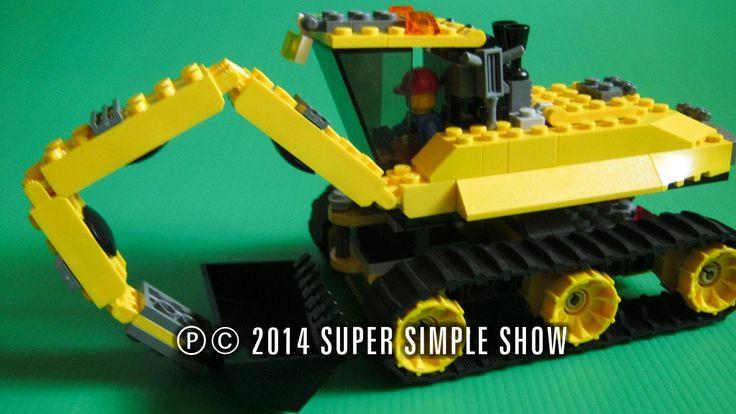 Мультфильмы для детей - Большая сборка конструктора Лего Сити, серия дорожно-строительная техника, Экскаватор на гусеничном ходу.