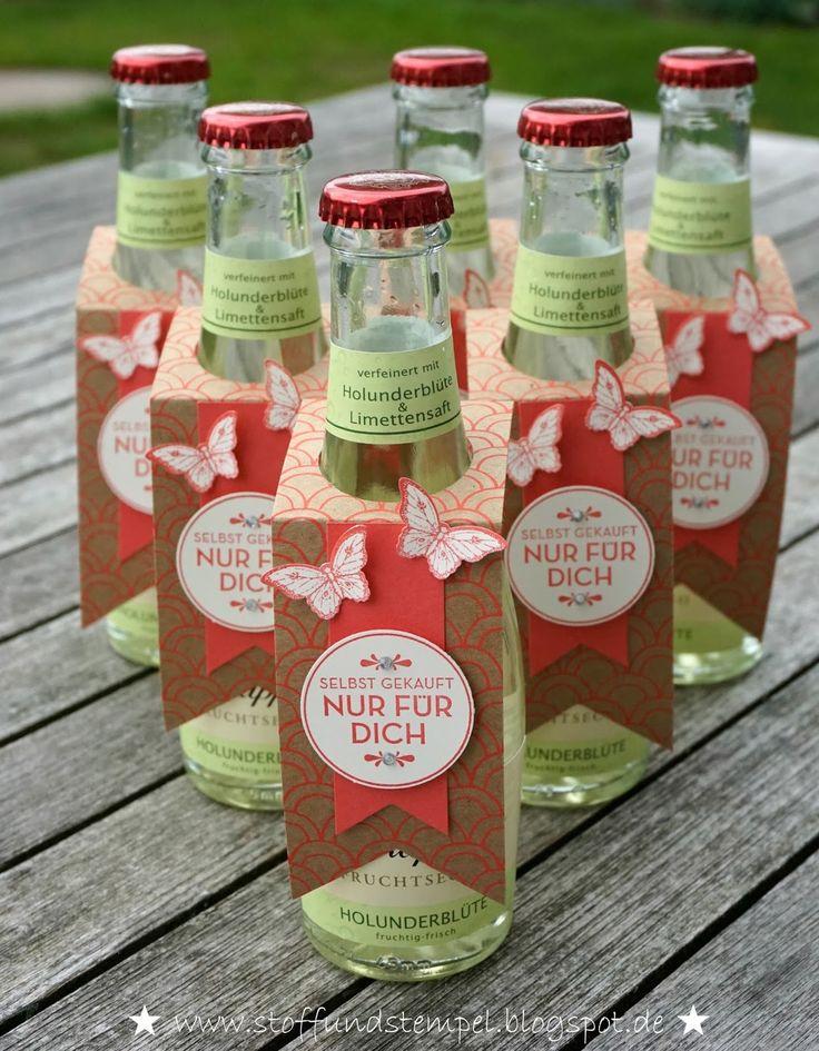 Stoff und Stempel: Schnelle Flaschenanhänger für Fruchtsecco