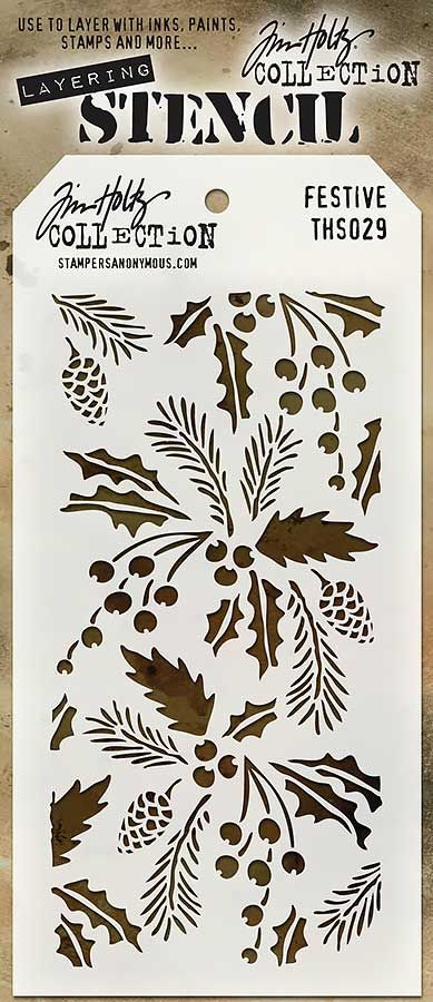 Stampers Anonymous - Tim Holtz - Layering Stencil - Christmas - Festive at Scrapbook.com