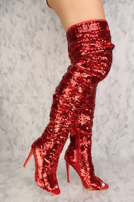 f5a42e8b08 Red Sequin Rugged Peep Toe Single Sole Thigh High Boots in 2019 ...