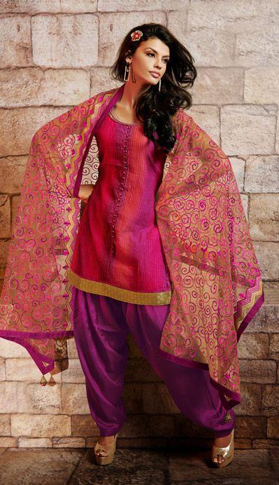 USD 117.35 Magenta Silk Patiala Salwar Kameez 35838
