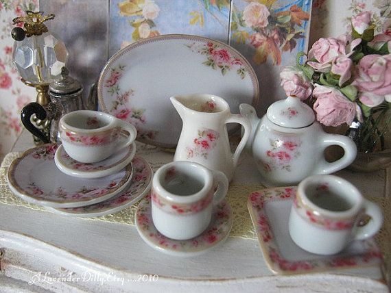 Hertford Dollhouse Tea Cup/Saucer by ALavenderDilly on Etsy