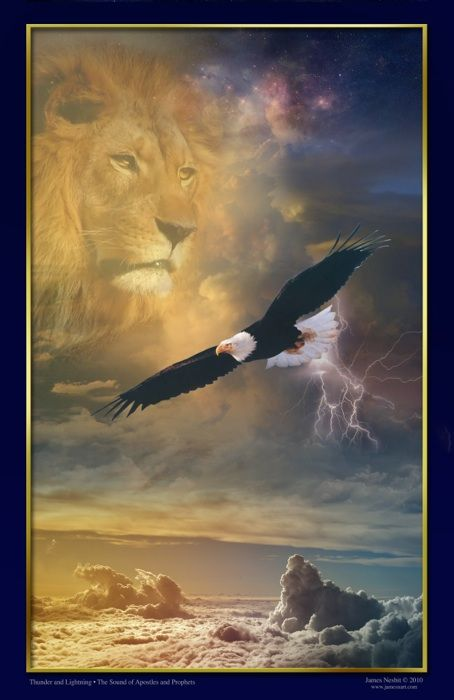 Thunder and Lightning Created June 30, 2010 This prophetic image represents the eternal sound released by apostles and prophets as all of creation responds and the Kingdom of heaven manifests on earth through their declaration, decree, and proclamation.