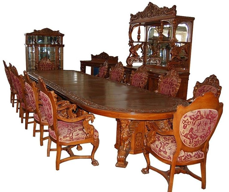 16 Pc Heavily Carved Oak Winged Griffin Dining Set By RJ Horner C 1880 7507