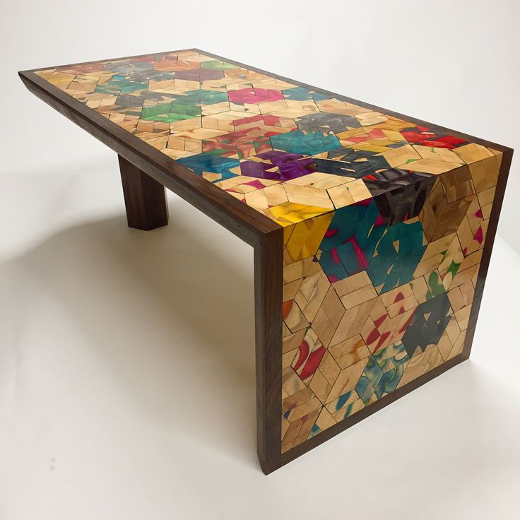 Recycled skateboard Mosaic Waterfall Table