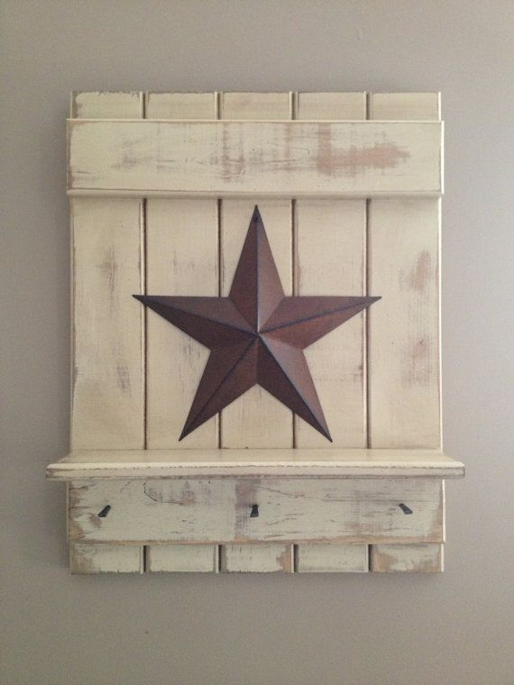 Primitive Americana country star sign shelf hook rack white cream antiqued . $30.00, via Etsy.