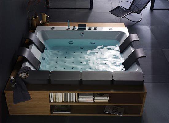Minimalist-and-Modern-Bathroom-Design. Nice indoor hot tub!