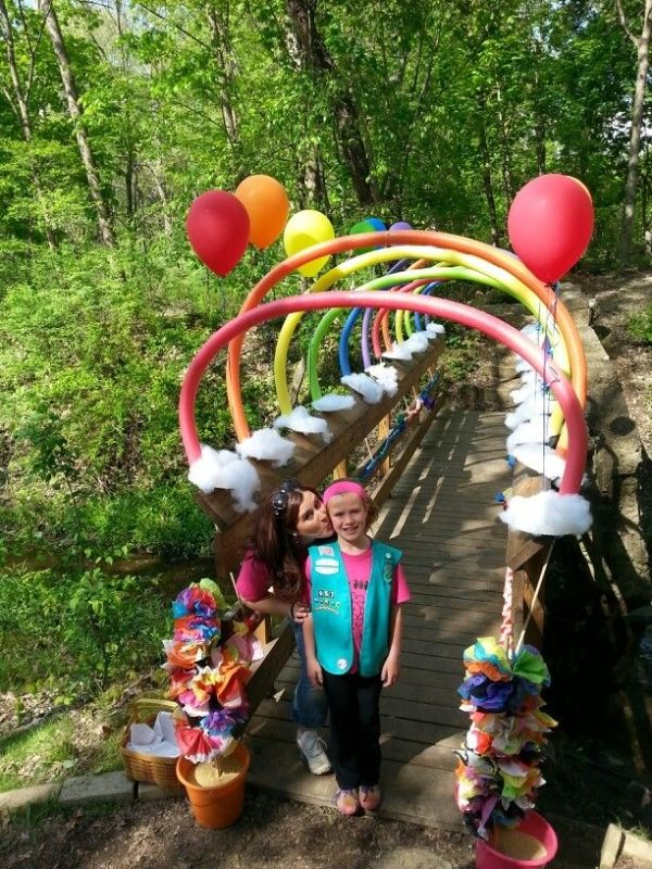Girl Scout Bridging Rainbow Noodle Bridge with Paper plate clouds filled with batting. by oldrose