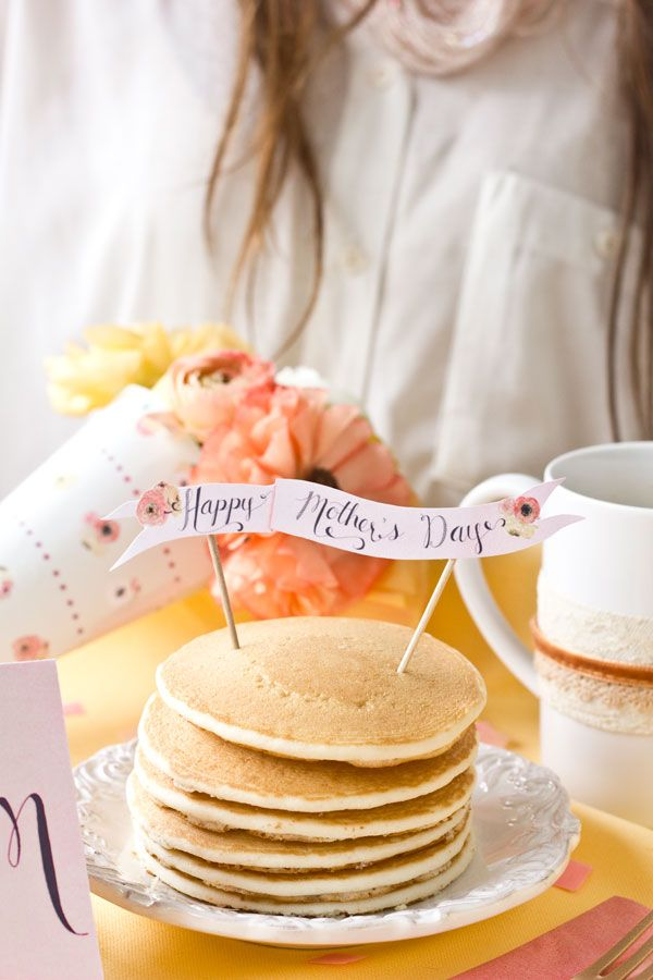 Mother's Day pancakes with printable banner