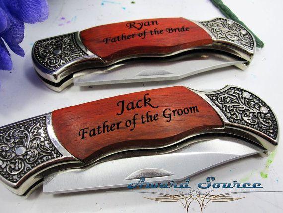 1 Personalized Groomsmen Gifts – Custom Engraved Wood Handle Pocket Knife Hunting Knives – Groomsman Best Man Ring Bearer Gift
