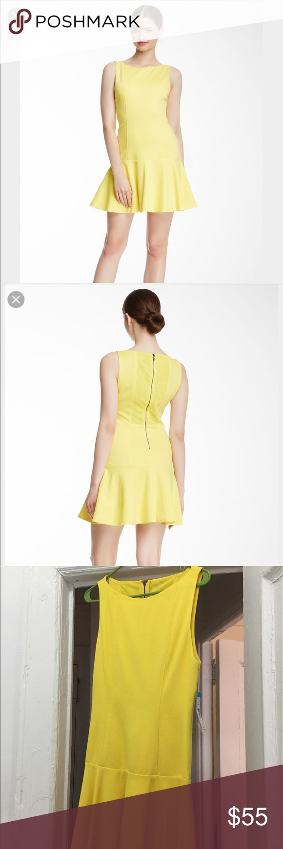 alice + Olivia Kaya drop waist dress size 10 NWT Yellow alice + olivia drop waist dress. Fun dress for a picnic paired with sandals or with heels for a night out. Alice & Olivia Dresses Mini