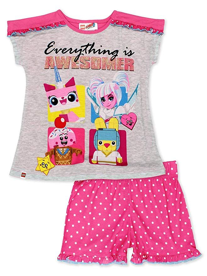 1ce8c867c These super cute pajamas are sure to bring a smile to any girl's face. This  sleepwear set features Lego Movie 2: The Second Part characters: Unikitty,  ...