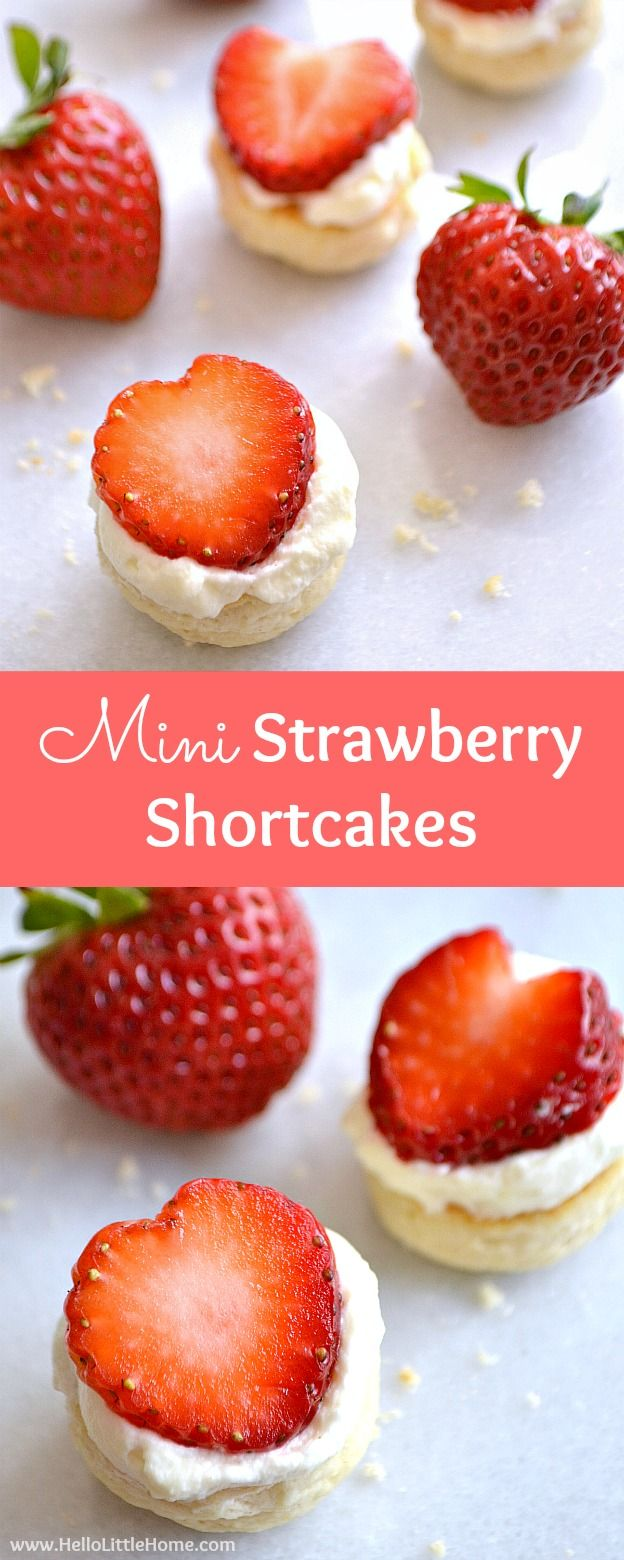 Mini Strawberry Shortcakes recipe ... the perfect, bite sized summer treat! This easy strawberry shortcake recipe starts with homemade individual biscuits that are topped with fresh whipped cream and strawberries. It's the classic recipe in a mini package, perfect for birthdays, weddings, or any summer party! | Hello Little Home