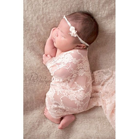 Newborn Headband, Stretch Lace Wrap, Newborn Photo Prop, Baby Girl, Newborn Wrap and Tieback, Ready to Ship, Photography Prop Wrap