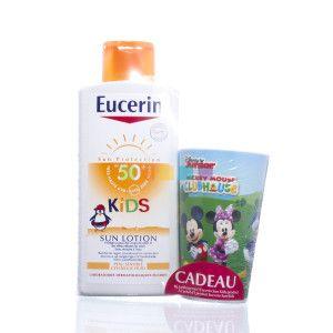 Eucerin Kids Sun Lotion SPF 50+ is een speciale formule om kinderen van 1 jaar en ouder te beschermen tegen zonnebrand en biedt een biologische celbescherming om het risico van huidbeschadiging door uv-stralen op de lange termijn te verminderen. Beschikbaar bij je online apotheek pharmamarket.