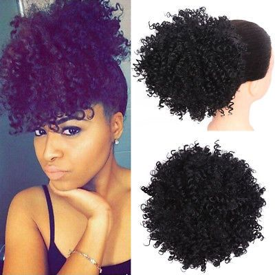 Details about High Puff Afro Bun Synthetic Clip in Hair Ponytail Drawstring Hair Extensions