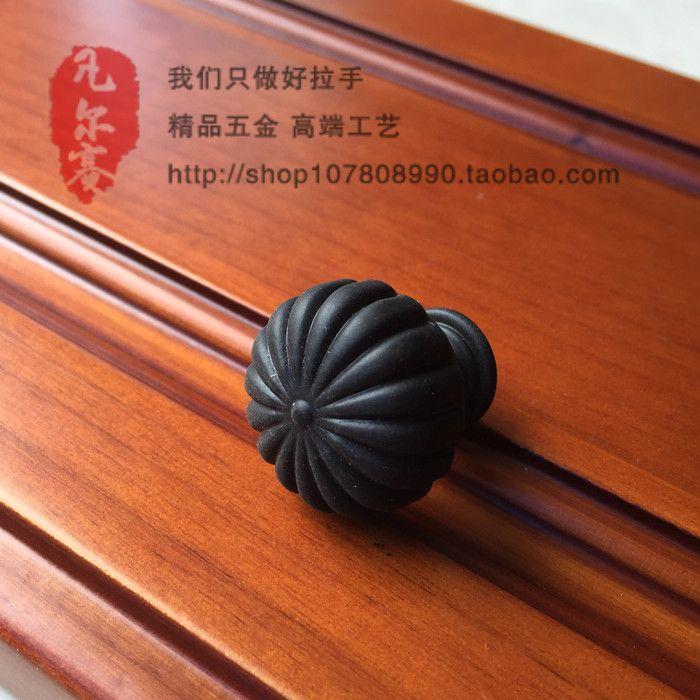 Европейский мебель из тикового дерева матовый черный шкаф пастырские простота ящика ручки круглое отверстие купить на AliExpress