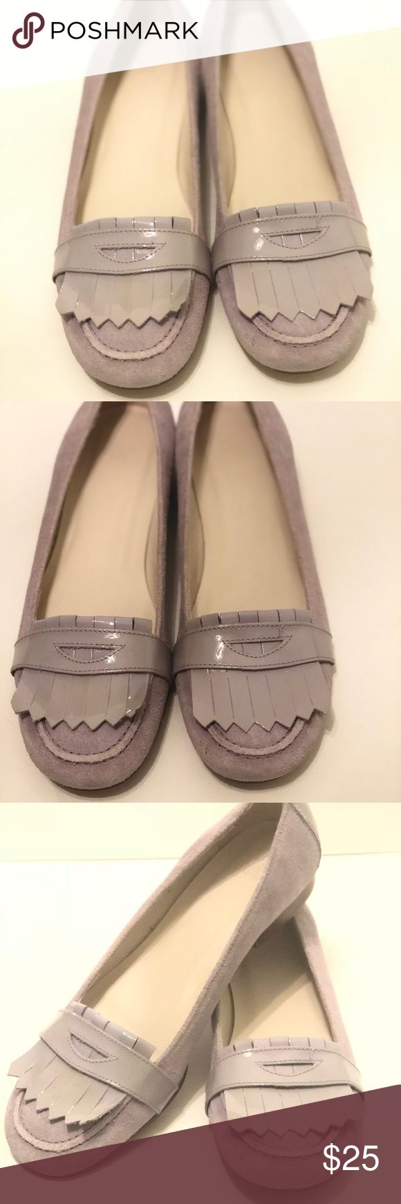 """Lilac Suede and Patent Loafer Flats with Fringe 7 Brand: Gap Style: Loafer Flats with Fringe Material: Suede Leather and Patent Leather  Color: Lilac Size: 7 Like NEW! Worn only once. Super cute flats that will add style and character to any outfit. In lilac with suede / patent contrast. Designed in a feminine penny loafer style with engraved leather wood like soles. Flat, less than 0.5"""" heels. All leather construction. Classic quality is written all over these flats! GAP Shoes Flats…"""