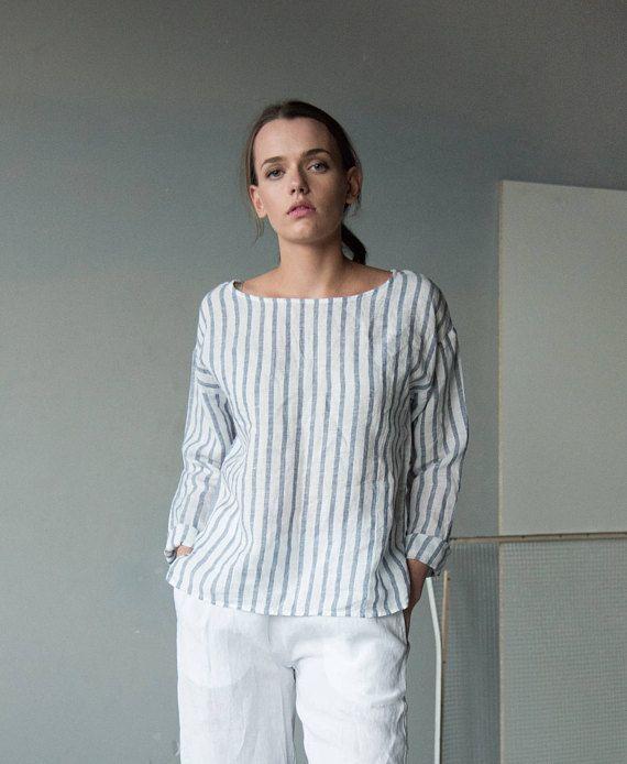 White blue stripe linen top long sleeve linen tshirt loose