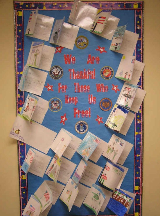 Veteran's Day Project II. Give presentation about Veteran's day, taking a virtual field trip to ALL of the branches of service via classroom website.  Children then make cards and thank you messages to send to active duty or veteran's at veteran's homes in gratitude of their service.